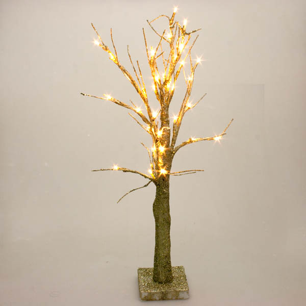 Battery Operated Gold Glitter Twig Tree with Warm White LED's - 60cm