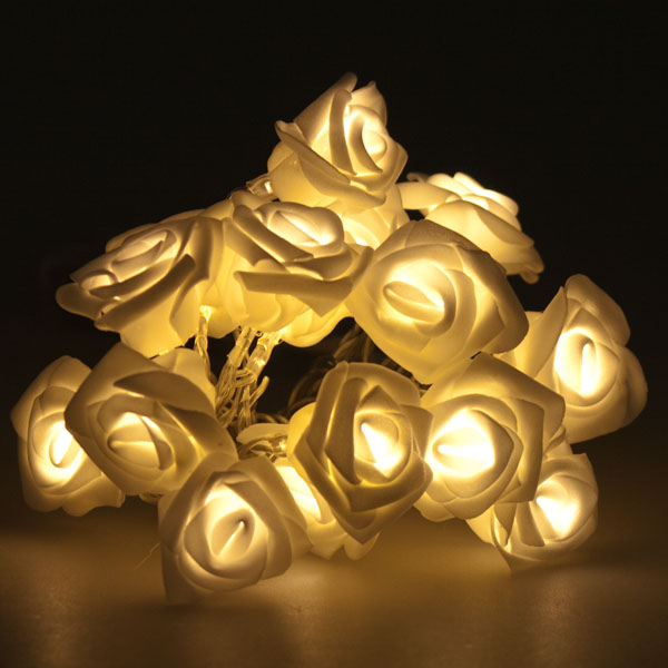 2.25m Length Of 16 Indoor Battery Operated Warm White LED Rose Fairy Lights - Transparent Cable