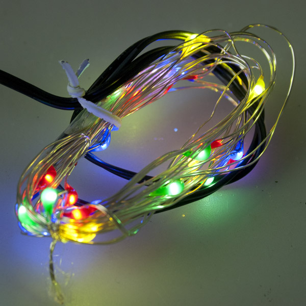 Premier 25 Indoor & Outdoor Waterproof Static 2.5m Set Of Battery Operated Multi Coloured LED Fine Wire Lights With Timer