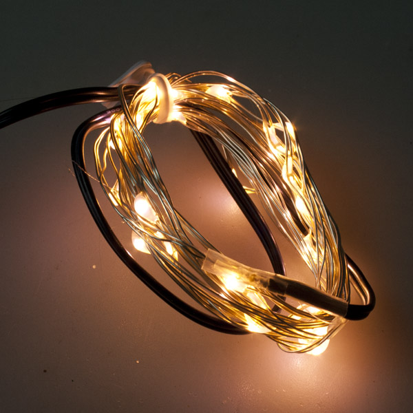 Premier 25 Indoor & Outdoor Waterproof Static 2.5m Set Of Battery Operated Warm White LED Fine Wire Lights With Timer