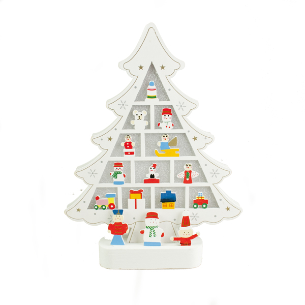 Battery Operated Holographic Wooden Character Christmas Tree With Colour Changing LED's  And Timer