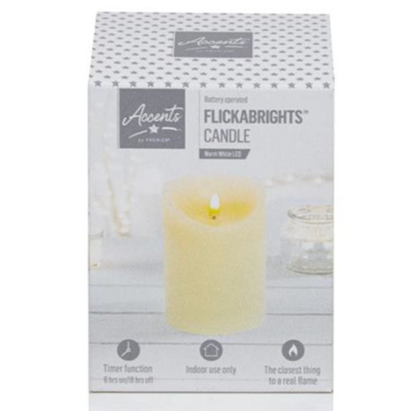 Battery Operated Cream Candle With Timer - 13cm x 9cm