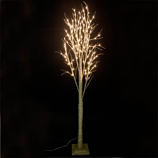 Pre-lit Gold Glitter Paper Twig Tree - 200cm with 120 Warm White LED's