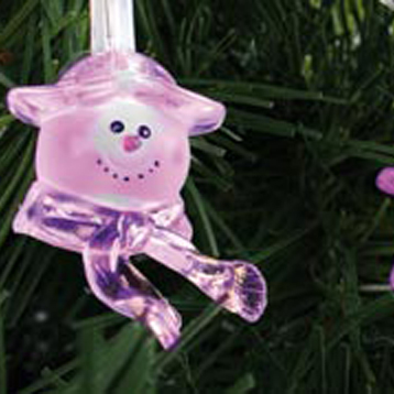 Noma 2.9m Length of 30 Pink Indoor And Outdoor Static LED Snowmen Clear Cable