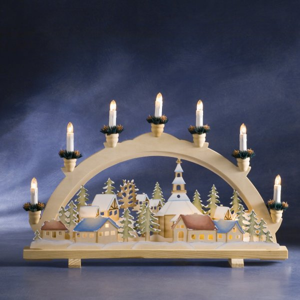 Konstsmide 36cm X 57cm Indoor Static Prelit Natural Wood Candle Arch With Motif Detailing White Cable