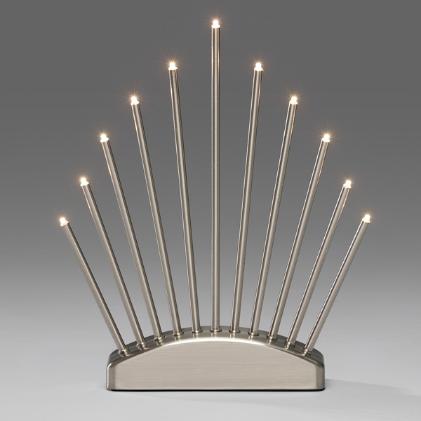 Konstsmide 34cm X 30cm Static Indoor Brushed Metal Candle Stick With 11 Warm White LED's