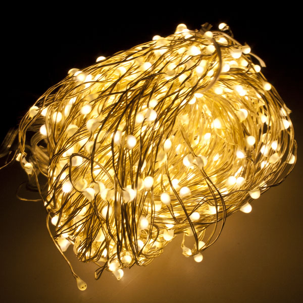 2m length of 640 warm white cascade micro led fairy lights silver cable