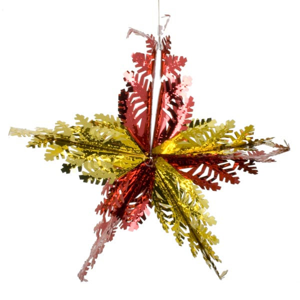 Red And Gold Foil Snowflake Star - 15