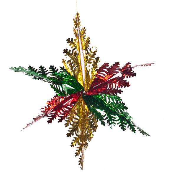 Red, Gold And Green Foil Snowflake Star - 15