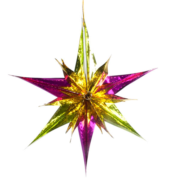 Gold/Cerise/Lime Star Burst Foil Decoration - 40cm