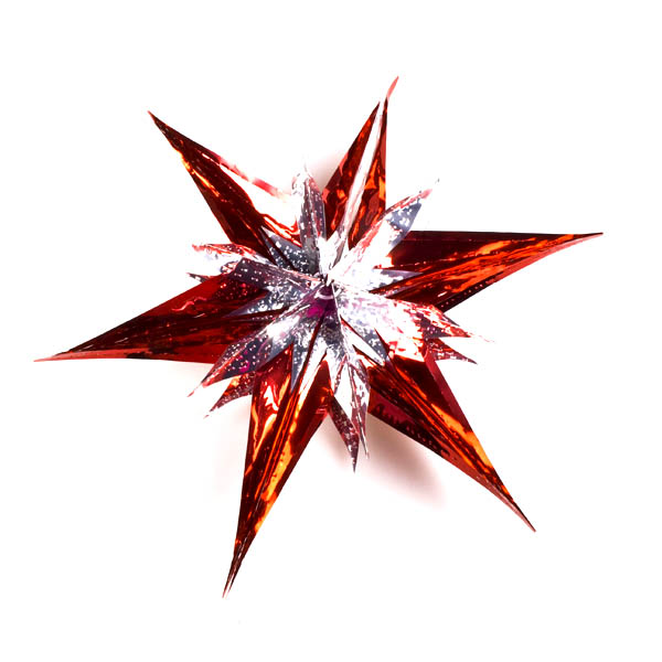 Silver/Red Star Burst Foil Decoration - 40cm