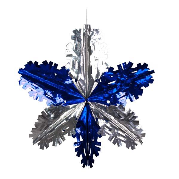 Foil 60cm Starflake - Silver & Dark Blue