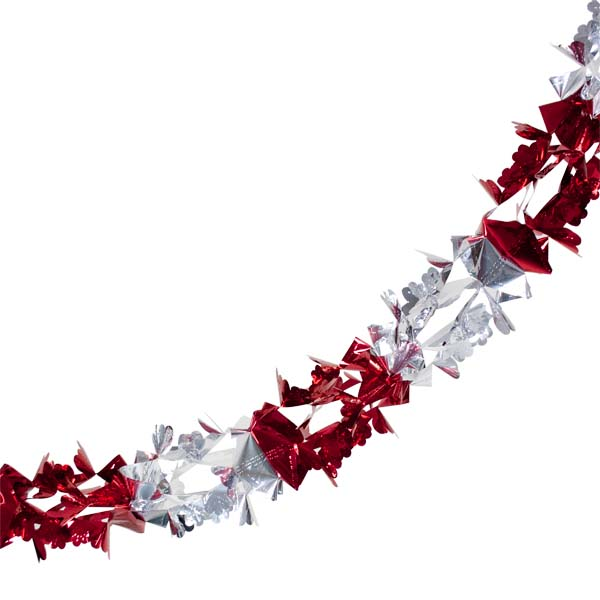 Foil 270cm Chunky Flower Garland - Red & Silver