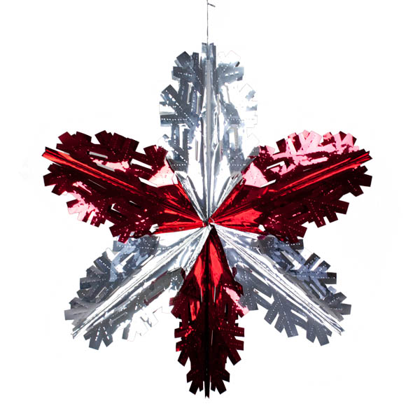Foil 60cm Starflake - Red & Silver