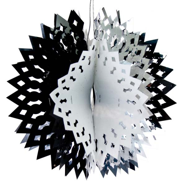 Foil 30cm Ball - Silver, Black & White