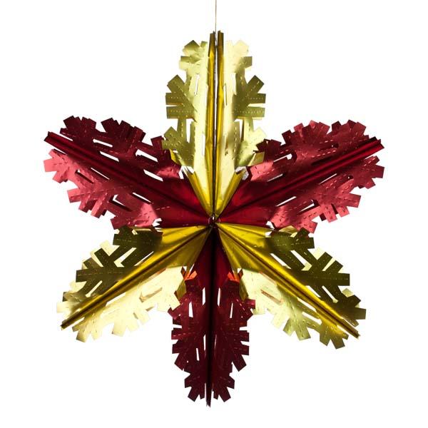 Foil 60cm Starflake - Matt Red & Gold