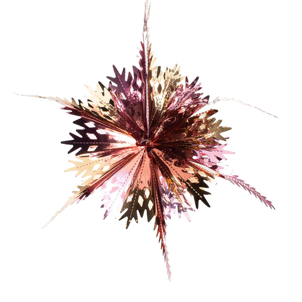 Rose Gold & Pink Foil Snowstar Decoration - 40cm