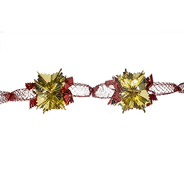Red & Gold Foil 4 Section Garland - 2.7m X 20cm