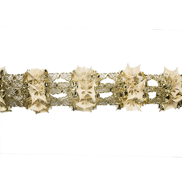 Gold & Cream Foil 8 Section Garland - 2.7m X 33cm