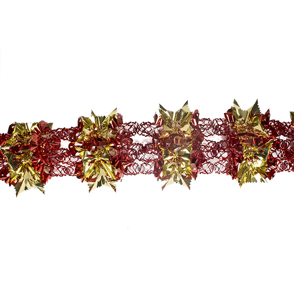 Red & Gold Foil 8 Section Garland - 2.7m X 33cm