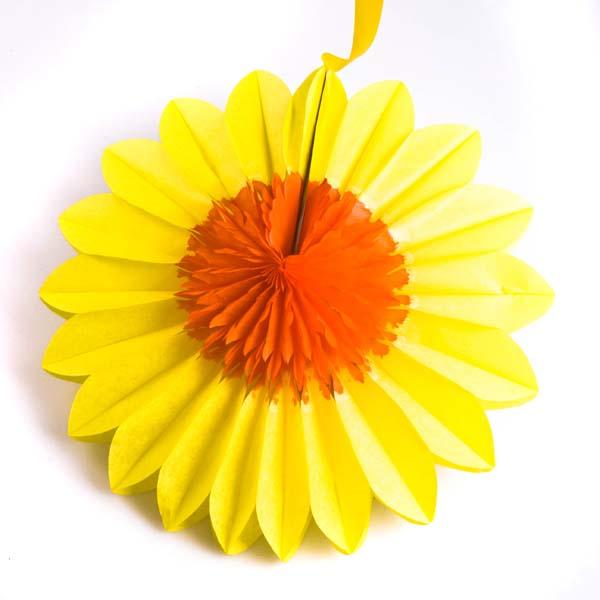 Yellow/Gold Paper Rosette Flower - 30cm