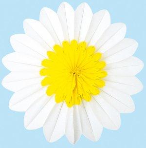 Yellow/White Paper Rosette Flower - 30cm