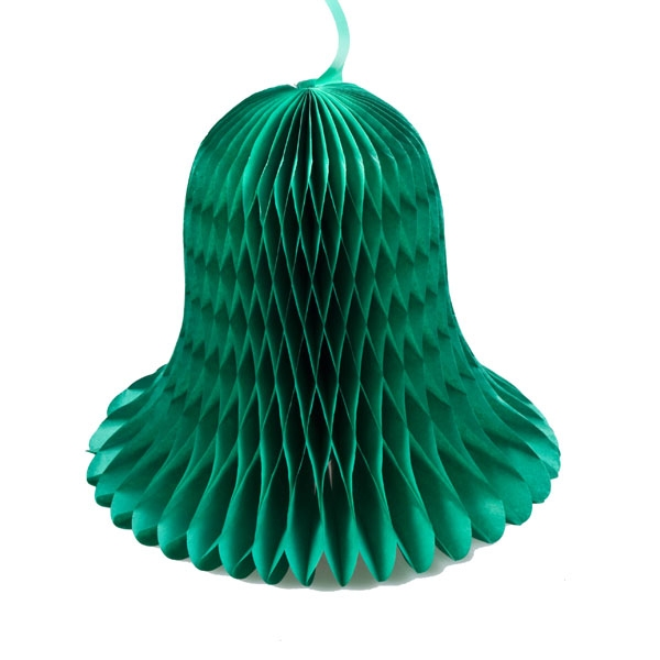 Green Flame Resistant Honeycomb Paper Bell - 20cm