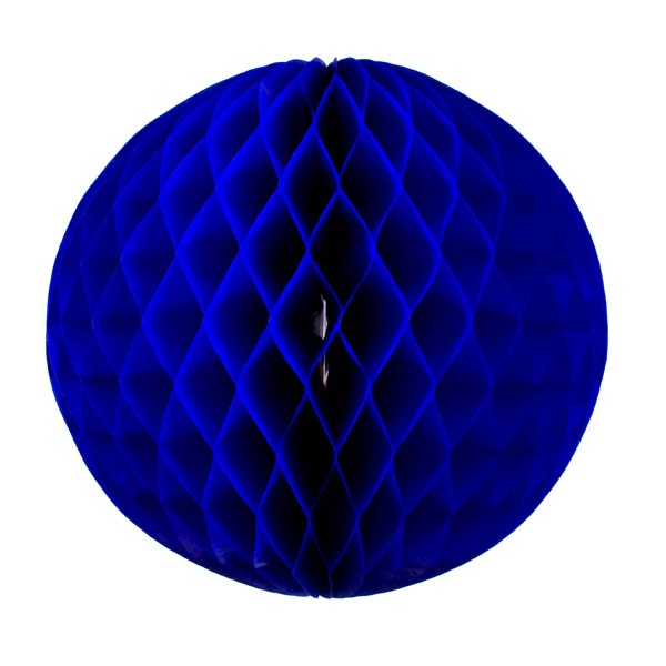 Blue Flame Resistant Honeycomb Paper Ball Hanging Decoration - 30cm