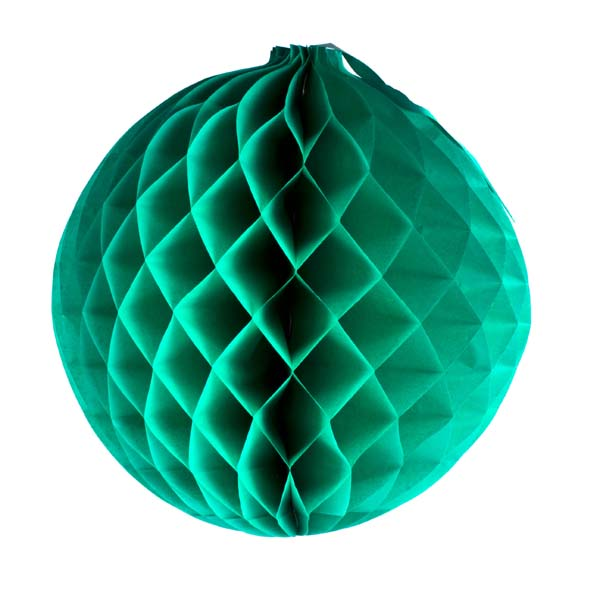 Green Flame Resistant Honeycomb Paper Ball Hanging Decoration - 20cm