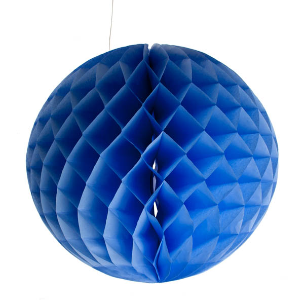 Light Blue Flame Resistant Honeycomb Paper Ball Hanging Decoration - 30cm