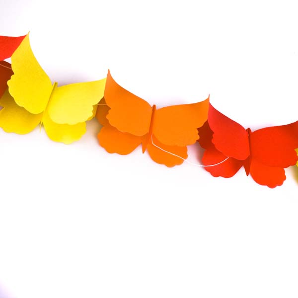 Yellow/Orange/Red Butterfly Flame Retardant Paper Garland - 3m