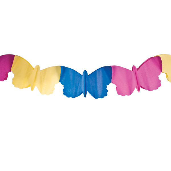 Yellow/Pink/Blue Butterfly Flame Retardant Paper Garland - 4m