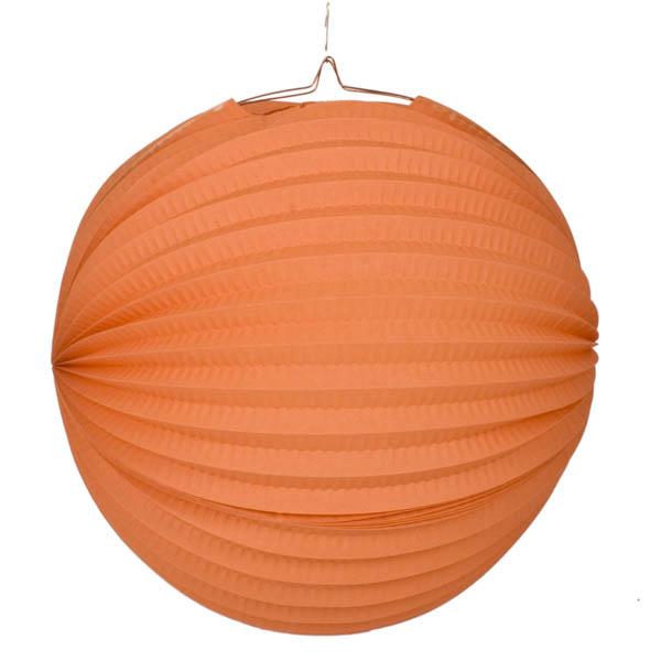 Orange Flame Resistant Round Paper Lantern - 31cm