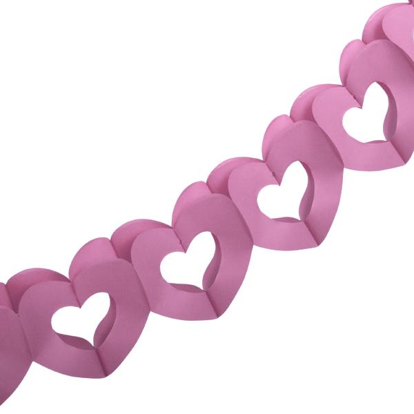Pink Paper Heart Garland - 3m