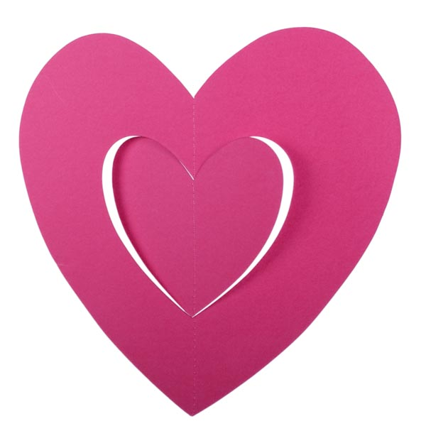 Dark Pink Hanging Paper Heart Decoration - 30cm