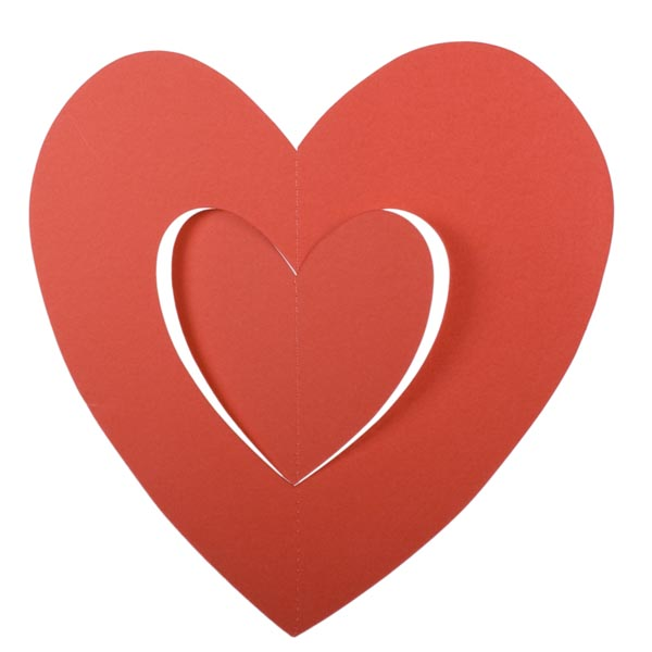 Red Hanging Paper Heart Decoration - 30cm