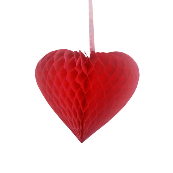 Red Paper Heart Hanging Decoration - 15cm