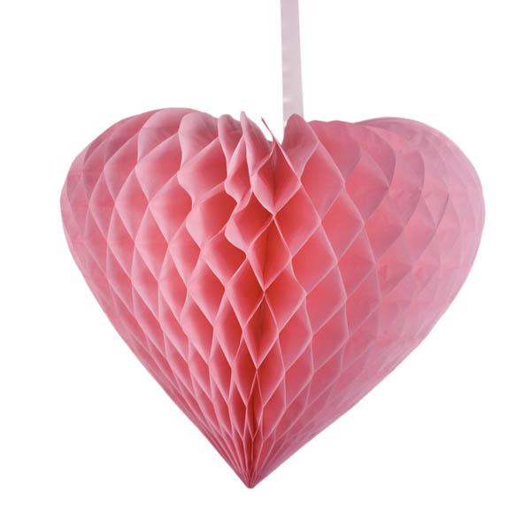 Pink Paper Heart Hanging Decoration - 40cm x 44cm