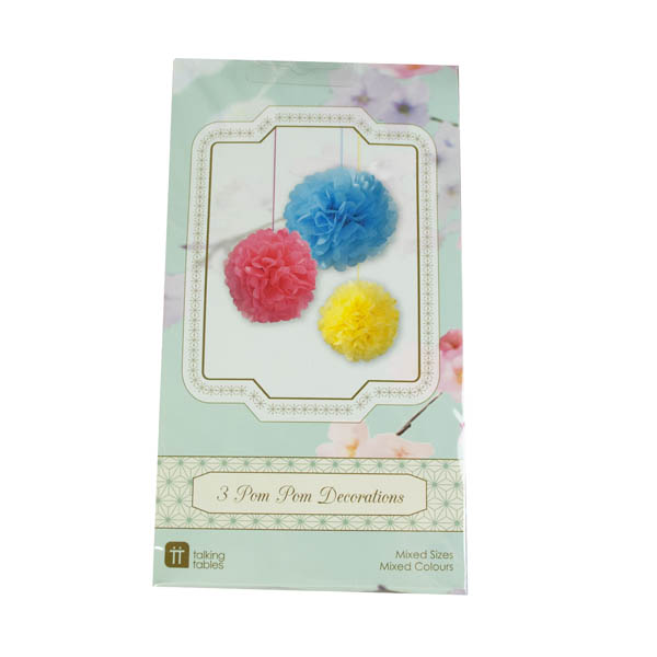 Talking Tables Pack Of 3 Bright Paper Pom Pom Decorations