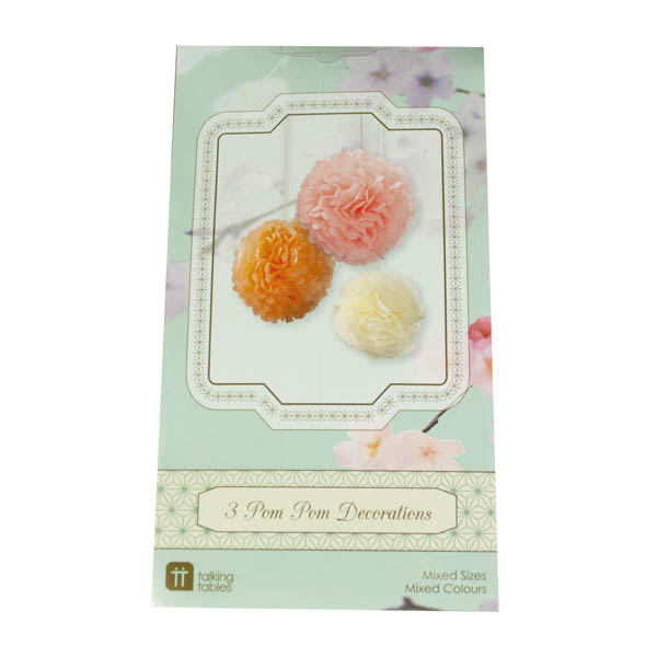 Talking Tables Pack Of 3 Pastel Paper Pom Pom Decorations