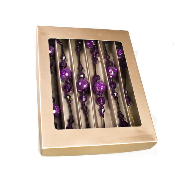 Purple Glass Garland In Presentation Box - 170cm
