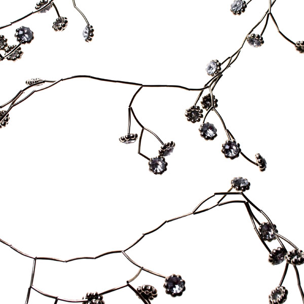 Silver Metal Garland With Flower Detail - 106cm