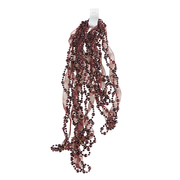 Burgundy Bead And Ribbon Garland - 2.7m