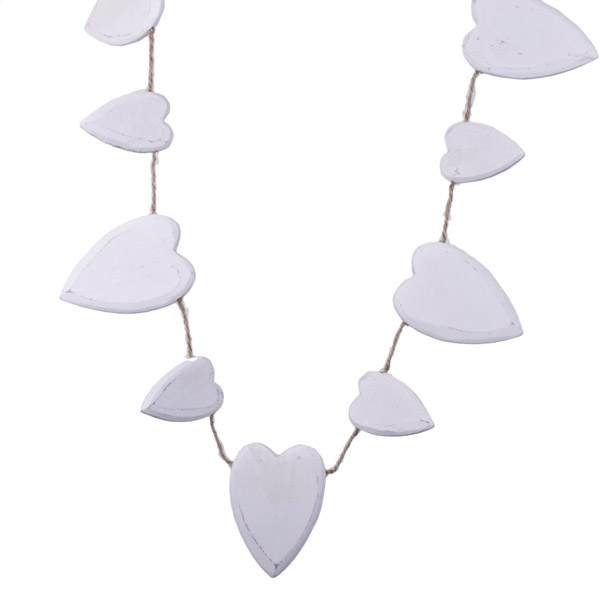 Gisela Graham White Wooden Heart Garland - 1.5m