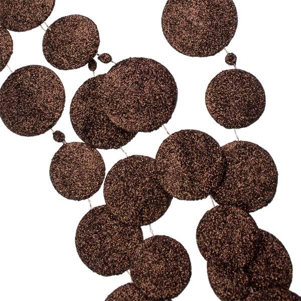 Brown Glitter Disc Garland - 180cm
