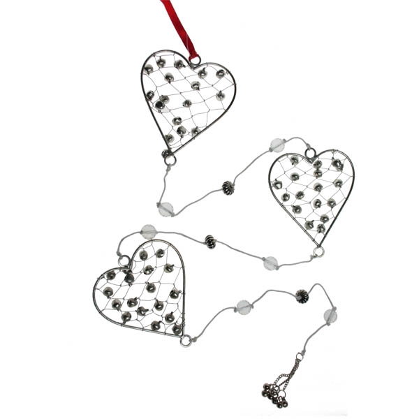 Silver Heart And Bell Garland - 110cm