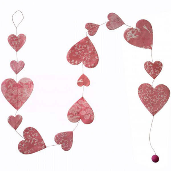 Fairtrade Handmade Patterned Pink Paper Heart Garland - 1.5m
