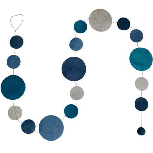 Fairtrade Handmade Blue Paper Disc Garland - 1.5m