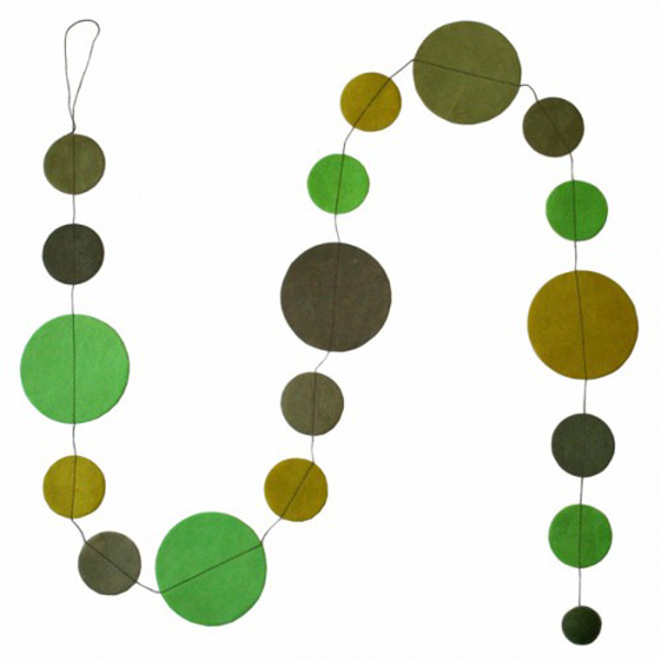 Fairtrade Handmade Green Paper Disc Garland - 1.5m
