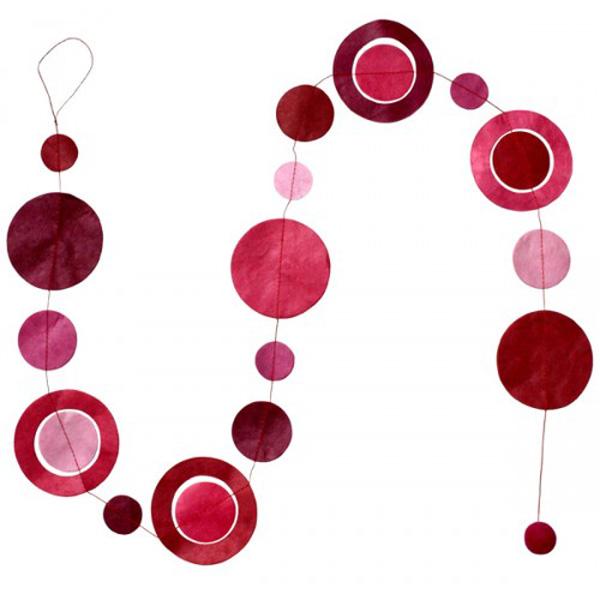 Fairtrade Handmade Pink Paper Silhouette Disc Garland - 1.5m